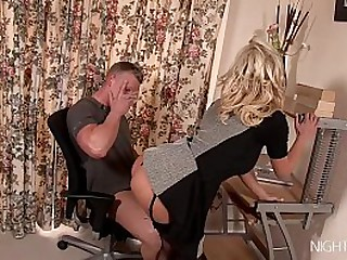 Busty Mom caught on her son-in-law jerking his dick!